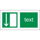 E005 - Úniková cesta, únikový východ (šipka dole) - Vodorovná záchranná nálepka s doplnkovým textom