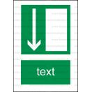 E005 - Úniková cesta, únikový východ (šipka dole) - Zvislá záchranná nálepka s doplnkovým textom