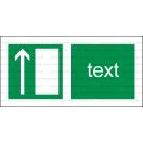 E005 - Úniková cesta, únikový východ (šipka hore) - Vodorovná záchranná nálepka s doplnkovým textom
