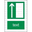 E005 - Úniková cesta, únikový východ (šipka hore) - Zvislá záchranná nálepka s doplnkovým textom