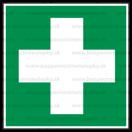 E006 - Miesto prvej pomoci - Štvorcová záchranná nálepka bez textu