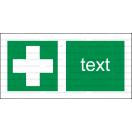 E006 - Miesto prvej pomoci - Vodorovná záchranná nálepka s doplnkovým textom
