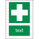 E006 - Miesto prvej pomoci - Zvislá záchranná nálepka s doplnkovým textom