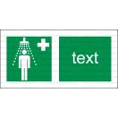 E008 - Bezpečnostná sprcha - Vodorovná záchranná nálepka s doplnkovým textom