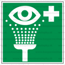 E009 - Vymývanie očí - Štvorcová záchranná nálepka bez textu