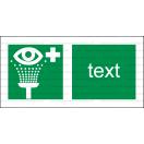 E009 - Vymývanie oči - Vodorovná záchranná nálepka s doplnkovým textom