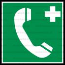 E010 - Núdzový telefón pre prvú pomoc alebo únik - Štvorcová záchranná nálepka bez textu