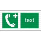 E010 - Núdzový telefón pre prvú pomoc alebo únik - Vodorovná záchranná nálepka s doplnkovým textom