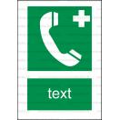 E010 - Núdzový telefón pre prvú pomoc alebo únik - Zvislá záchranná nálepka s doplnkovým textom