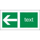 E013 - Smer na dosiahnutie bezpečia (šipka doprava / doľava) - Vodorovná záchranná nálepka s doplnkovým textom