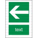 E013 - Smer na dosiahnutie bezpečia (šipka doprava / doľava) - Zvislá záchranná nálepka s doplnkovým textom