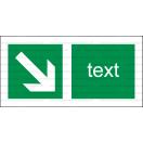 E014 - Smer na dosiahnutie bezpečia - Vodorovná záchranná nálepka s doplnkovým textom