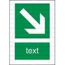 E014 - Smer na dosiahnutie bezpečia - Zvislá záchranná nálepka s doplnkovým textom