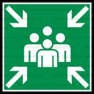 E016 - Zhromažďovacie miesto - Štvorcová záchranná nálepka bez textu