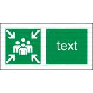 E016 - Zhromažďovacie miesto - Vodorovná záchranná nálepka s doplnkovým textom