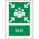 E016 - Zhromažďovacie miesto - Zvislá záchranná nálepka s doplnkovým textom