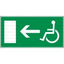 E020L - Úniková cesta, únikový východ pre zdravotne postihnutých (šipka vľavo) - Obdĺžniková záchranná nálepka bez textu