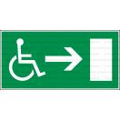 E020L - Úniková cesta, únikový východ pre zdravotne postihnutých (šipka vpravo) - Obdĺžniková záchranná nálepka bez textu