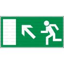 E021L - Úniková cesta, únikový východ (šipka vľavo hore) - Obdĺžniková záchranná nálepka bez textu