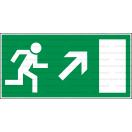 E021L - Úniková cesta, únikový východ (šipka vpravo hore) - Obdĺžniková záchranná nálepka bez textu