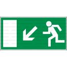 E022L - Úniková cesta, únikový východ (šipka vľavo dole) - Obdĺžniková záchranná nálepka bez textu