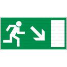 E022L - Úniková cesta, únikový východ (šipka vpravo dole) - Obdĺžniková záchranná nálepka bez textu