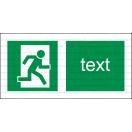 E023 - Úniková cesta - Vodorovná záchranná nálepka s doplnkovým textom