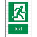 E023 - Úniková cesta - Zvislá záchranná nálepka s doplnkovým textom
