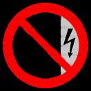 P009 - Zákaz dotýkať sa, kryt je pod napätím - Okrúhla nálepka bez textu