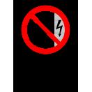 P009 - Zákaz dotýkať sa, kryt je pod napätím - Zvislá nálepka s doplnkovým textom